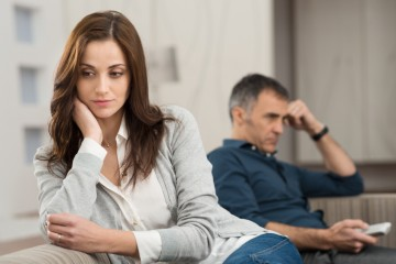 Sad Couple Sitting On Couch After Having Quarrel